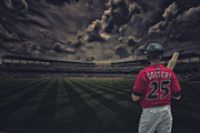 Baseball Paint Framed Prints - Indianapolis Indians Jared Goedert 2 Framed Print by David Haskett