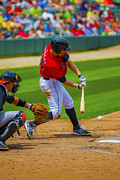 Victory Field Photo Prints - Indianapolis Indians Jared Goedert Digital OIL Painting Print by David Haskett