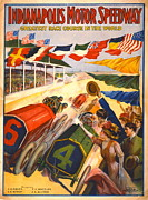 Grandstands Framed Prints - Indianapolis Motor Speedway 1909 Framed Print by Padre Art