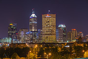 Aperture Prints - Indianapolis Night Skyline Echo Print by David Haskett