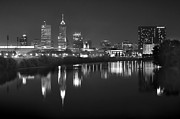 Indianapolis Posters - Indianapolis Skyline at Night Indy Downtown Black and White BW Panorama Poster by Jon Holiday