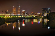 Indianapolis Metal Prints - Indianapolis Skyline at Night Indy Downtown Color Panorama Metal Print by Jon Holiday