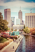 Indiana Autumn Art - Indianapolis Skyline Old Retro Picture by Paul Velgos