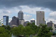 Morning Race Prints - Indianapolis Skyline Storm 3 Print by David Haskett