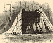 Native Americans Drawings Posters - Indians on the Columbia Poster by Antique Engravings