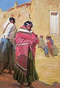 Taos Prints - Indians Outside Taos Pueblo Print by Gerald Cassidy