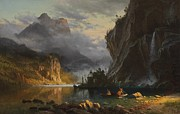 Cliffs Paintings - Indians spear fishing by Albert Bierstadt