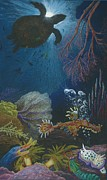 Aquatic Drawings Posters - Indigenous Aquatic Creatures of New Guinea Poster by Beth Dennis