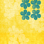 White Floral Posters - Indigo and Yellow Flowers Poster by Linda Woods