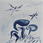 Blue Mushrooms Painting Posters - Indigo Calm Poster by Beverley Harper Tinsley
