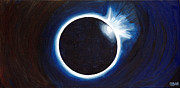 Solar Eclipse Painting Framed Prints - Indigo Eclipse Framed Print by Cedar Lee