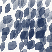 Indigo Rain- Abstract Blue And White Painting Print by Linda Woods