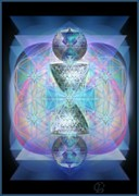 Merging Digital Art Prints - IndigoAurad Chalice Orbing Intwined Hearts Print by Christopher Pringer