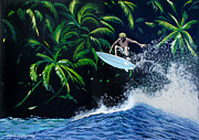 Surfing Art Paintings - Indonesia by Chikako Hashimoto Lichnowsky