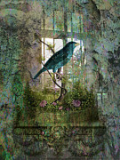 Sarah Vernon Metal Prints - Indoor Garden with Bird Metal Print by Sarah Vernon