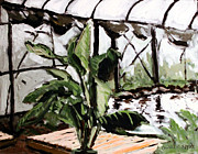 Indoor Painting Prints - INDOORS TILAPIA FARM plein air Print by Charlie Spear
