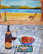 Wine Reflection Art Painting Originals - Indulging summer by Hiten Mistry