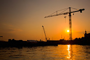 Goods Art - Industrial harbor at sunset and a crane by Michal Bednarek