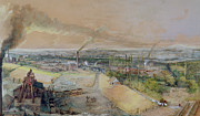 Industry Prints - Industrial Landscape in the Blanzy Coal Field Print by Ignace Francois Bonhomme