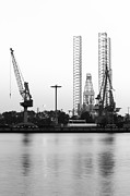 Sea Platform Framed Prints - Industry - Drilling rig and cranes Framed Print by Colette Planken-Kooij
