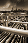Oil Refinery Photo Posters - Industry Oil Gas And Fuel Poster by Christian Lagereek