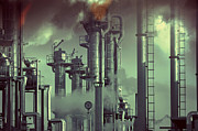 Toxic Framed Prints - Industry Oil Refinery Concept Framed Print by Christian Lagereek