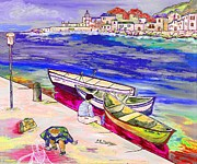 Mediterranean Landscape Mixed Media Posters - Infanzia spensierata Poster by Loredana Messina