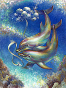 Killer Whale Paintings - Infinity- Bottlenose Dolphins at Play by Nancy Tilles