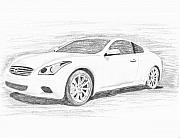 Coupe Drawings Acrylic Prints - INFINITY G37 Coupe Acrylic Print by John Jones