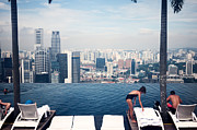 Standalone Framed Prints - Infinity Pool at Marina Bay Sands Framed Print by Chris Quek