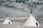 Traditional Photographs Prints - Infrared Image Of Native American Tipis Print by Roberta Murray