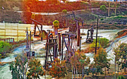 Oil Pumps Prints - Inglewood Oil Fields Print by Chuck Staley