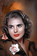 Europe Digital Art Metal Prints - Ingrid Bergman  Metal Print by Andrzej  Szczerski