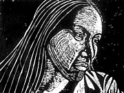 Woodcut Reliefs Posters - Ingrid Washinawatok Poster by Jane Madrigal