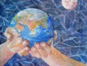 Planet Painting Prints - Inherit the Earth Print by Arlissa Vaughn