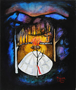 Sweat Painting Framed Prints - Inipi Sweat Lodge Framed Print by Gerald Coke Millard
