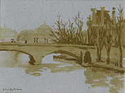 1980s Paintings - Ink Drawing Pont du Carrousel Paris by Thor WickstromInk Drawing Pont