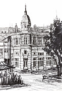Landmark Drawings Prints - Ink Graphics of an Old Building in Bulgaria Print by Kiril Stanchev
