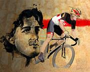 Ink Portrait Illustration Print Of Cycling Athlete Fabian Cancellara Print by Sassan Filsoof