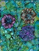 Alcohol Ink Prints - Inky Blooms Print by Christine Crawford