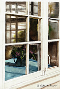 Old Pitcher Painting Prints - Inn Window Print by Deborah Burow