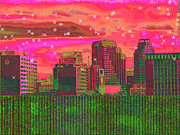 "\""wendy J. St. Christopher\\\"" Digital Art Posters - Inner City - Night Falls Poster by Wendy J St Christopher"