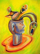 Original Art Pastels Originals - Inner demons by Michael Alvarez