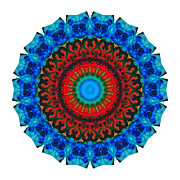 Hindi Mixed Media Prints - Inner Peace - Kaliedescope Mandala by Sharon Cummings Print by Sharon Cummings