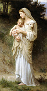 Madonna Digital Art Framed Prints - Innocence Framed Print by William Bouguereau