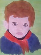 Crying Boy Paintings - InnocenceAndFear by Surbhi Grover