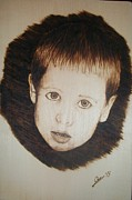 Monochrome Pyrography Prints - Innocent Print by Darko Gace