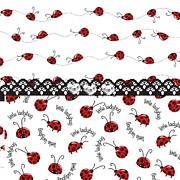 Black Lace Prints - Innocent Ladybugs  Print by Debra  Miller