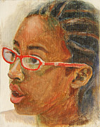 African-americans Painting Posters - Inquisitive Girl Poster by Xueling Zou
