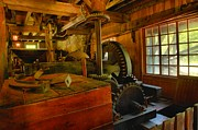 Grist Mills Framed Prints - Inside A Grist Mill Framed Print by Adam Jewell